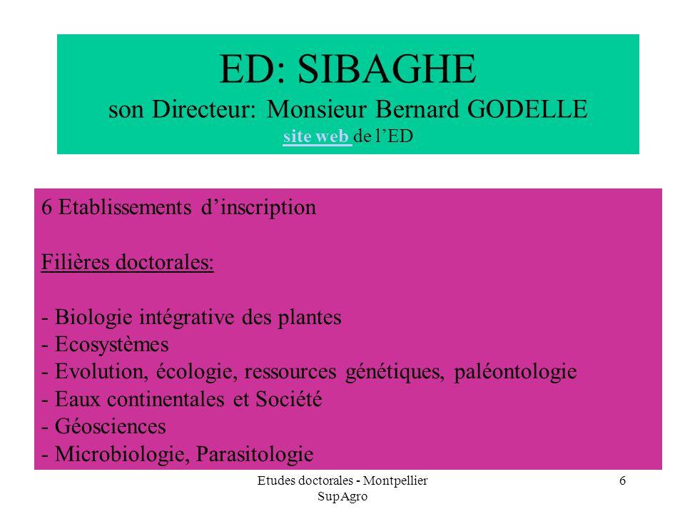 Etudes doctorales - Montpellier SupAgro 6 ED: SIBAGHE son Directeur: Monsieur Bernard GODELLE site web de lED site web 6 Etablissements dinscription F