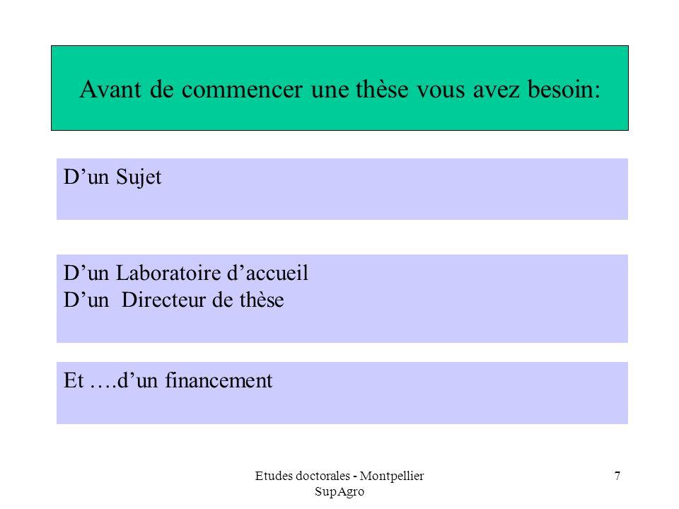 Etudes doctorales - Montpellier SupAgro 7 Avant de commencer une thèse vous avez besoin: Et ….dun financement Dun Sujet Dun Laboratoire daccueil Dun D