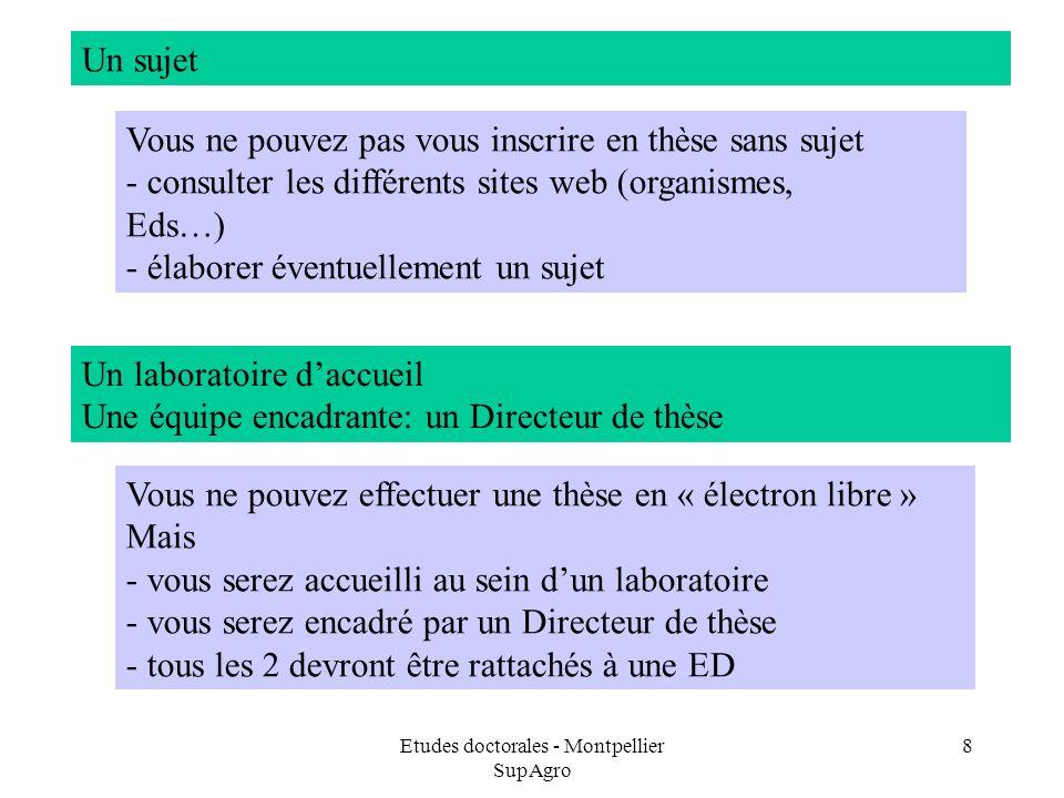 Etudes doctorales - Montpellier SupAgro 8 Un sujet Vous ne pouvez pas vous inscrire en thèse sans sujet - consulter les différents sites web (organism