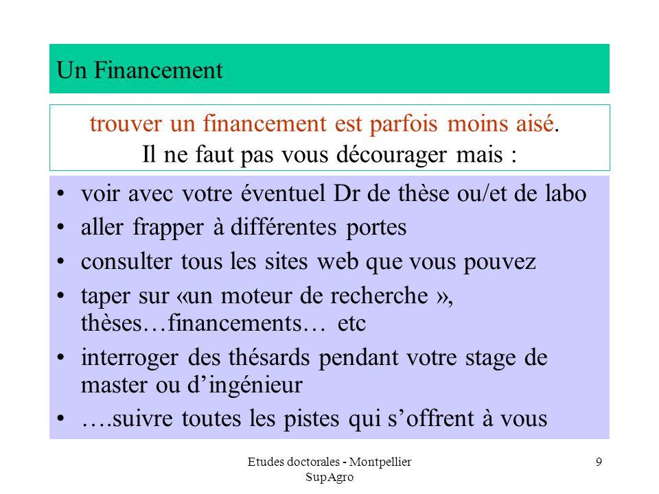 Etudes doctorales - Montpellier SupAgro 9 Un Financement voir avec votre éventuel Dr de thèse ou/et de labo aller frapper à différentes portes consult