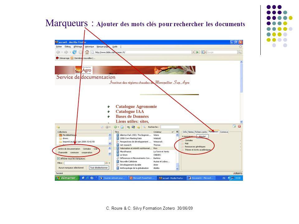 C. Roure & C. Silvy Formation Zotero 30/06/09 Marqueurs : Ajouter des mots clés pour rechercher les documents
