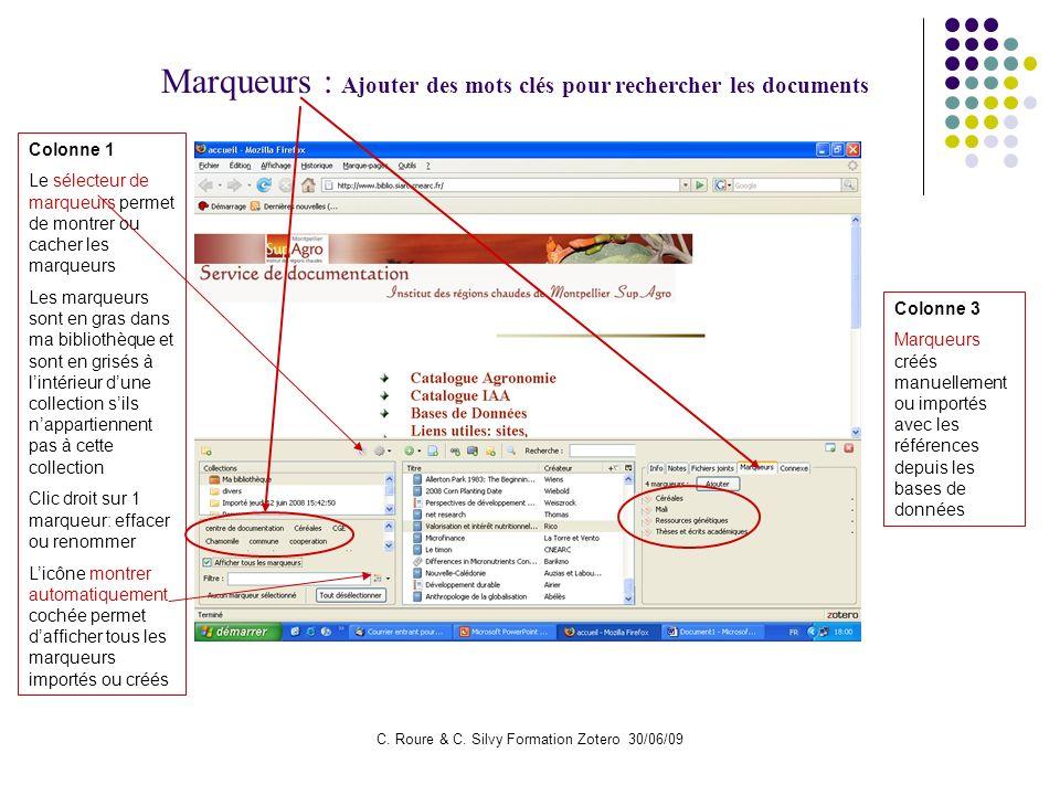 C. Roure & C. Silvy Formation Zotero 30/06/09 Marqueurs : Ajouter des mots clés pour rechercher les documents Colonne 3 Marqueurs créés manuellement o