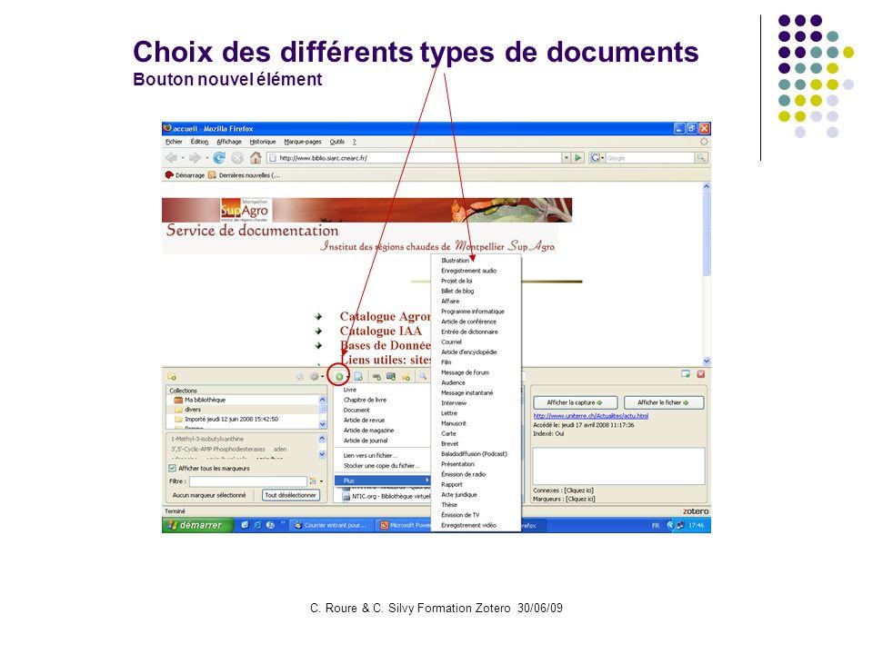 C. Roure & C. Silvy Formation Zotero 30/06/09 Choix des différents types de documents Bouton nouvel élément
