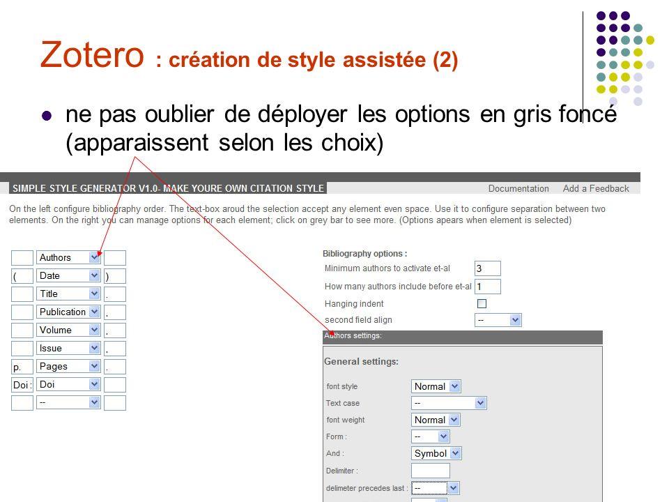 C. Roure & C. Silvy Formation Zotero 30/06/09 Zotero : création de style assistée (2) ne pas oublier de déployer les options en gris foncé (apparaisse