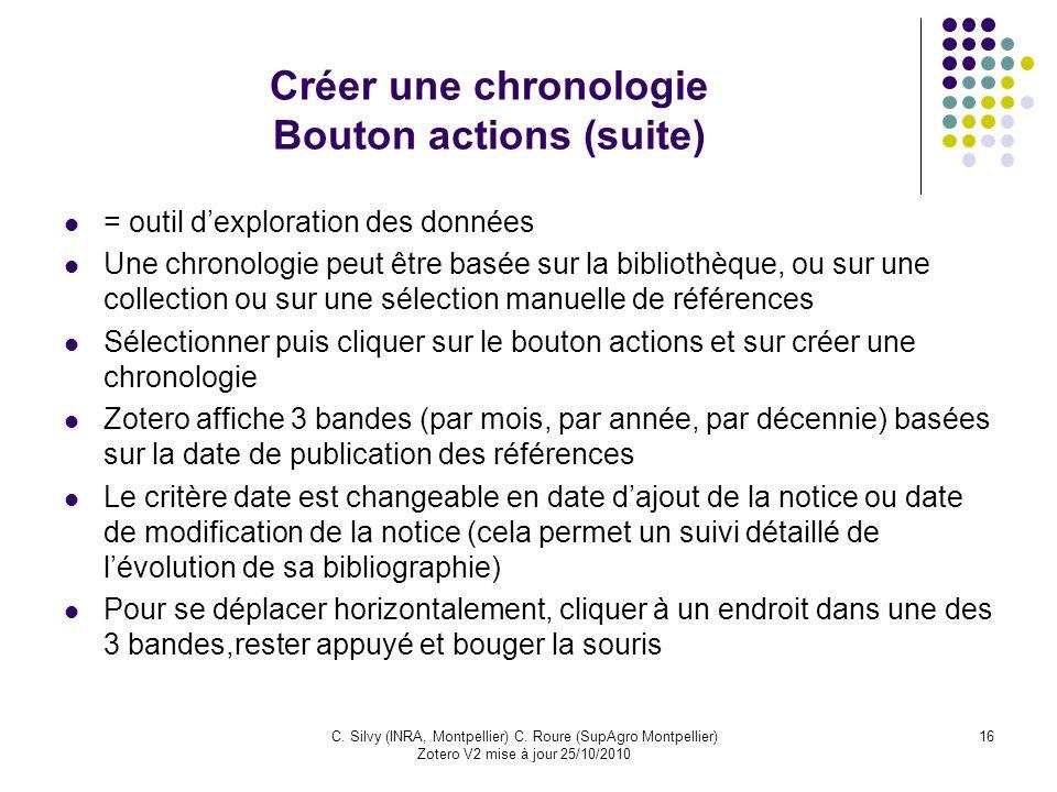 16C. Silvy (INRA, Montpellier) C. Roure (SupAgro Montpellier) Zotero V2 mise à jour 25/10/2010 Créer une chronologie Bouton actions (suite) = outil de