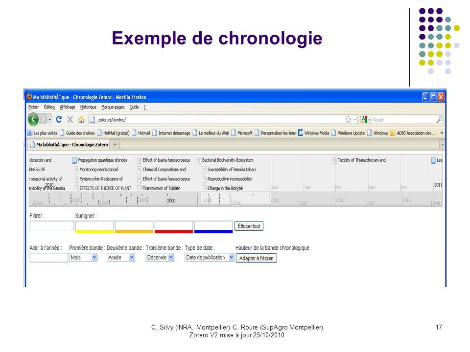 17C. Silvy (INRA, Montpellier) C. Roure (SupAgro Montpellier) Zotero V2 mise à jour 25/10/2010 Exemple de chronologie