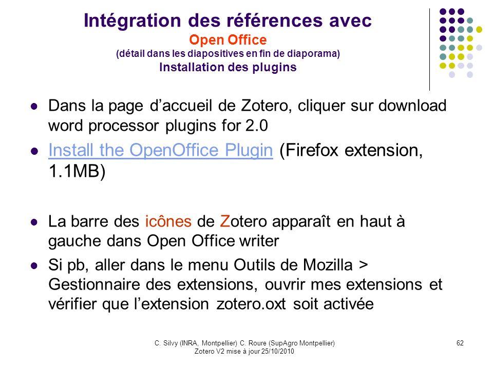 62C. Silvy (INRA, Montpellier) C. Roure (SupAgro Montpellier) Zotero V2 mise à jour 25/10/2010 Intégration des références avec Open Office (détail dan