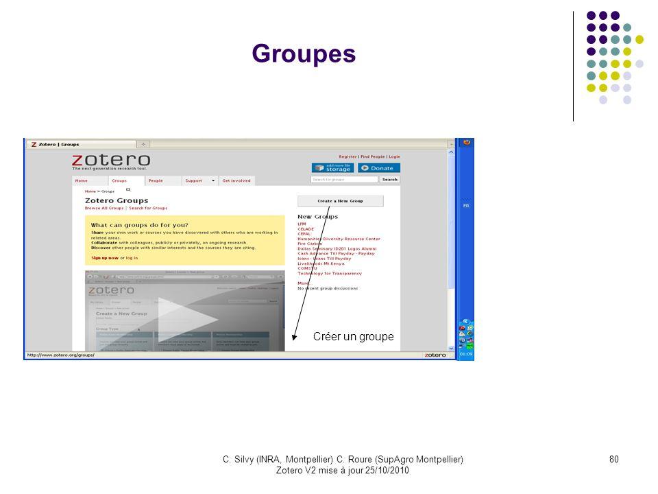 80C. Silvy (INRA, Montpellier) C. Roure (SupAgro Montpellier) Zotero V2 mise à jour 25/10/2010 Groupes Créer un groupe