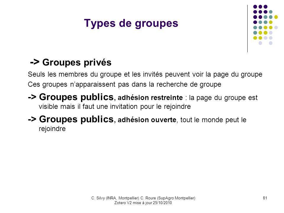 81C. Silvy (INRA, Montpellier) C. Roure (SupAgro Montpellier) Zotero V2 mise à jour 25/10/2010 Types de groupes -> Groupes privés Seuls les membres du
