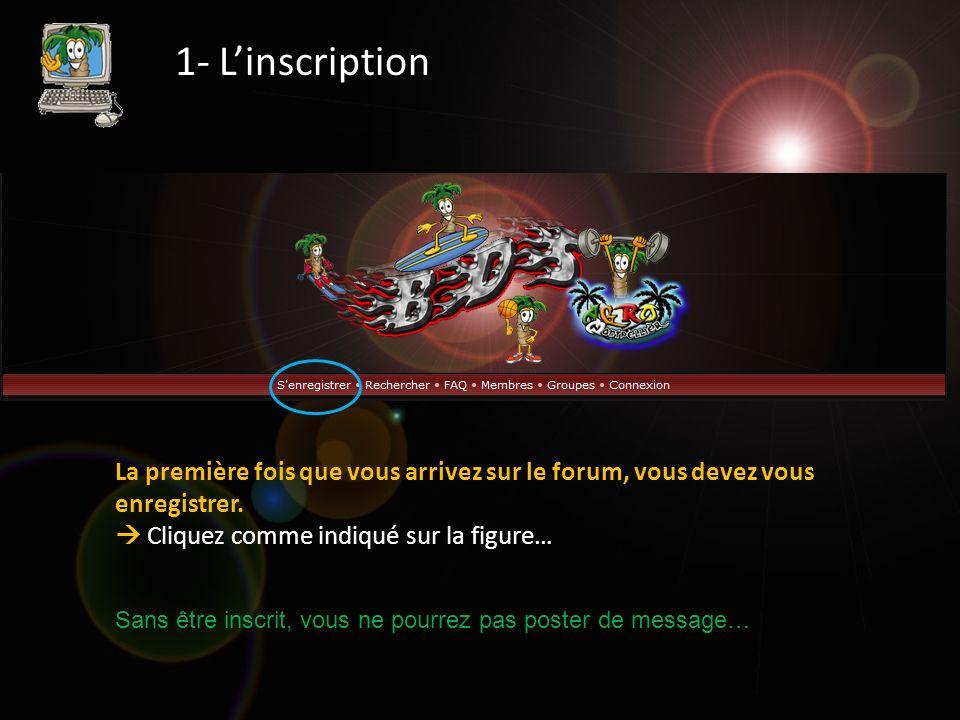 1- Linscription La première fois que vous arrivez sur le forum, vous devez vous enregistrer. Cliquez comme indiqué sur la figure… Sans être inscrit, v