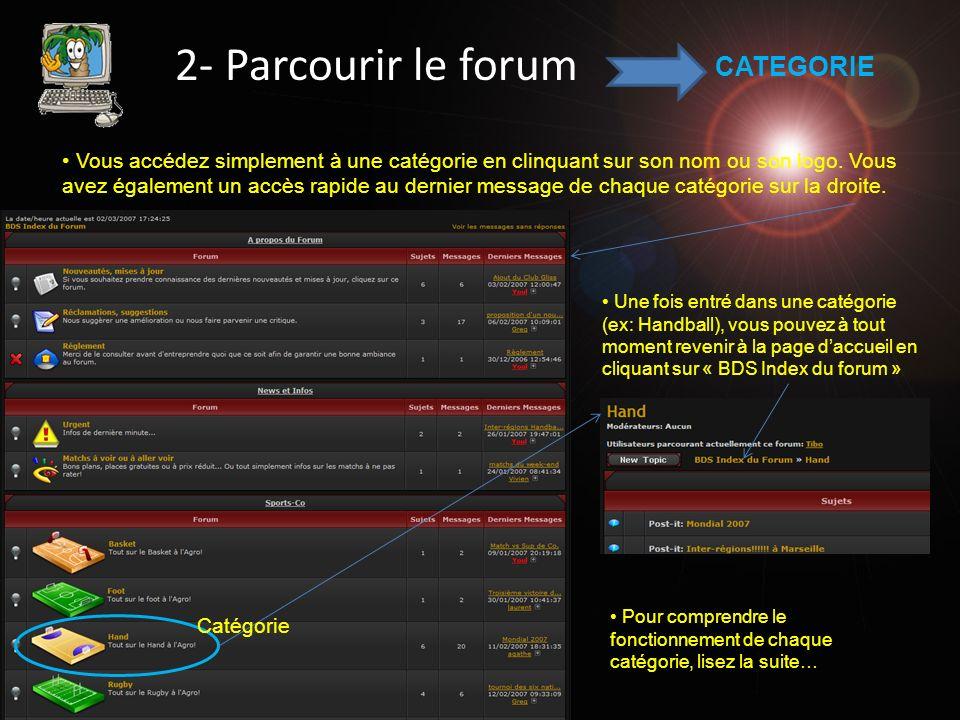 2- Parcourir le forum Poster un nouveau sujet Accéder à un sujet Si lampoule est allumée à côté du sujet cest quil y a un nouveau message… SUJET