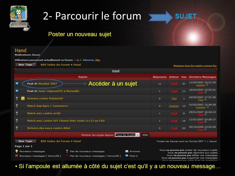 2- Parcourir le forum MESSAGE Poster un nouveau message 1 er message 2 e message