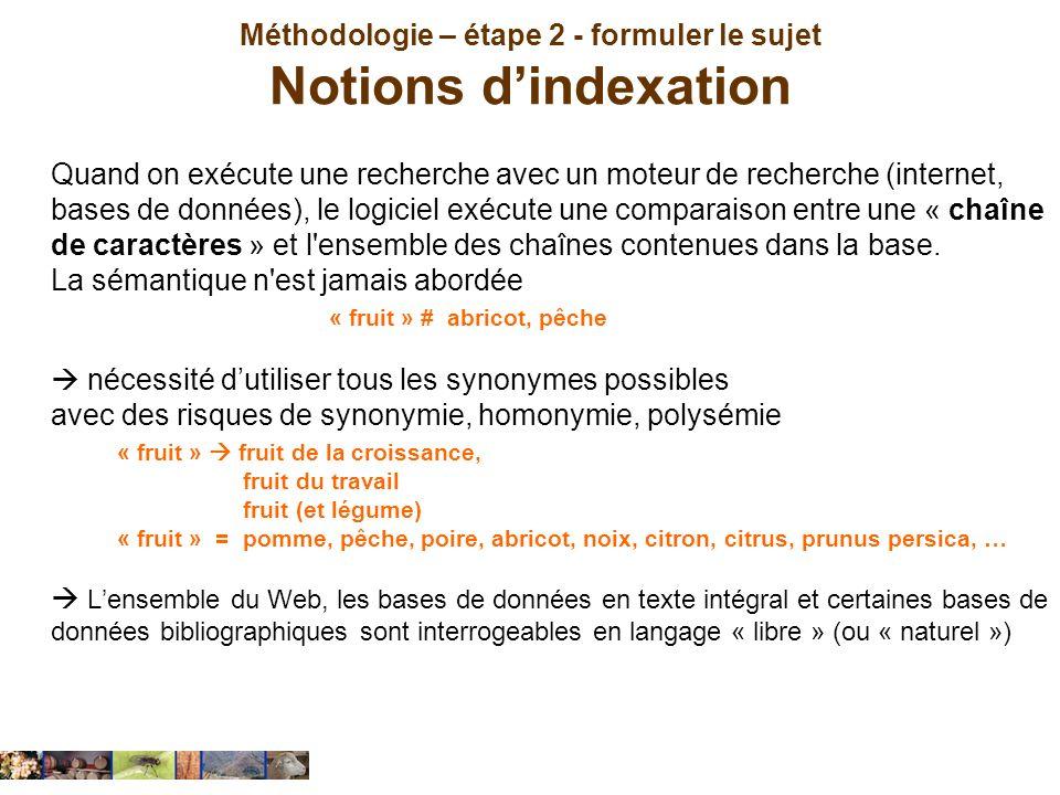 Méthodologie – étape 2 - formuler le sujet Notions dindexation Quand on exécute une recherche avec un moteur de recherche (internet, bases de données)