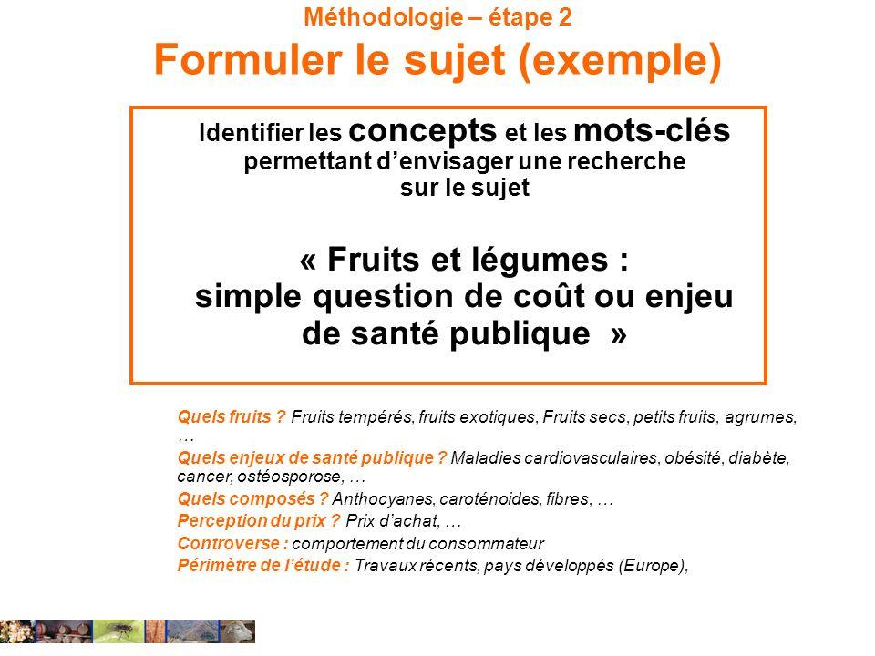 Méthodologie – étape 2 Formuler le sujet (exemple) Identifier les concepts et les mots-clés permettant denvisager une recherche sur le sujet « Fruits