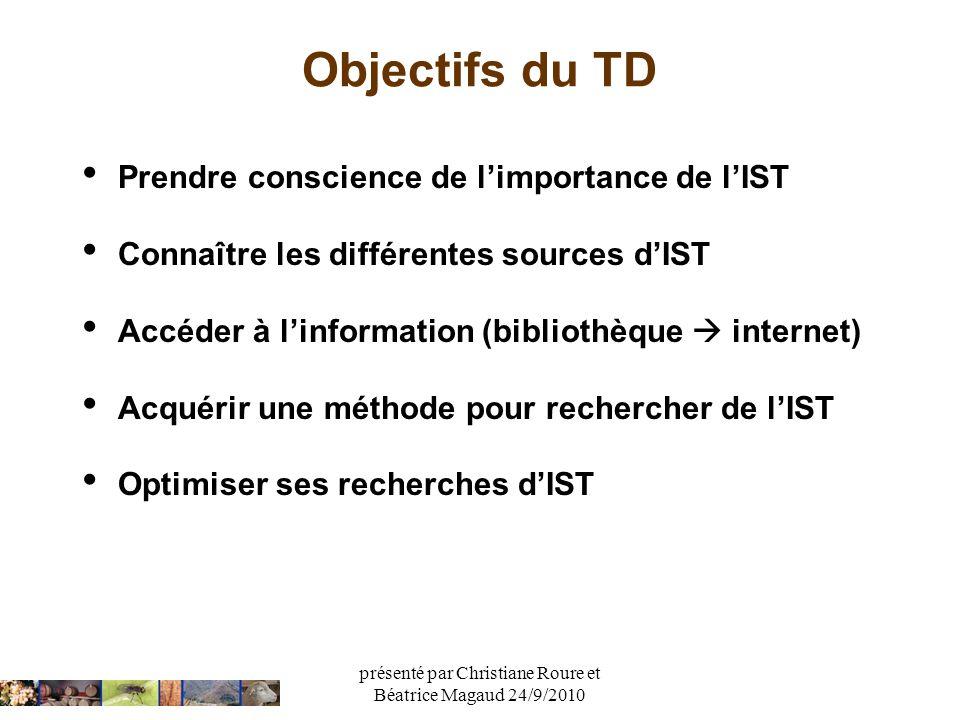 présenté par Christiane Roure et Béatrice Magaud 24/9/2010 Objectifs du TD Prendre conscience de limportance de lIST Connaître les différentes sources