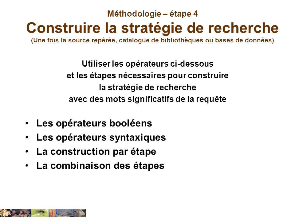 Méthodologie – étape 4 Construire la stratégie de recherche (Une fois la source repérée, catalogue de bibliothèques ou bases de données) Utiliser les