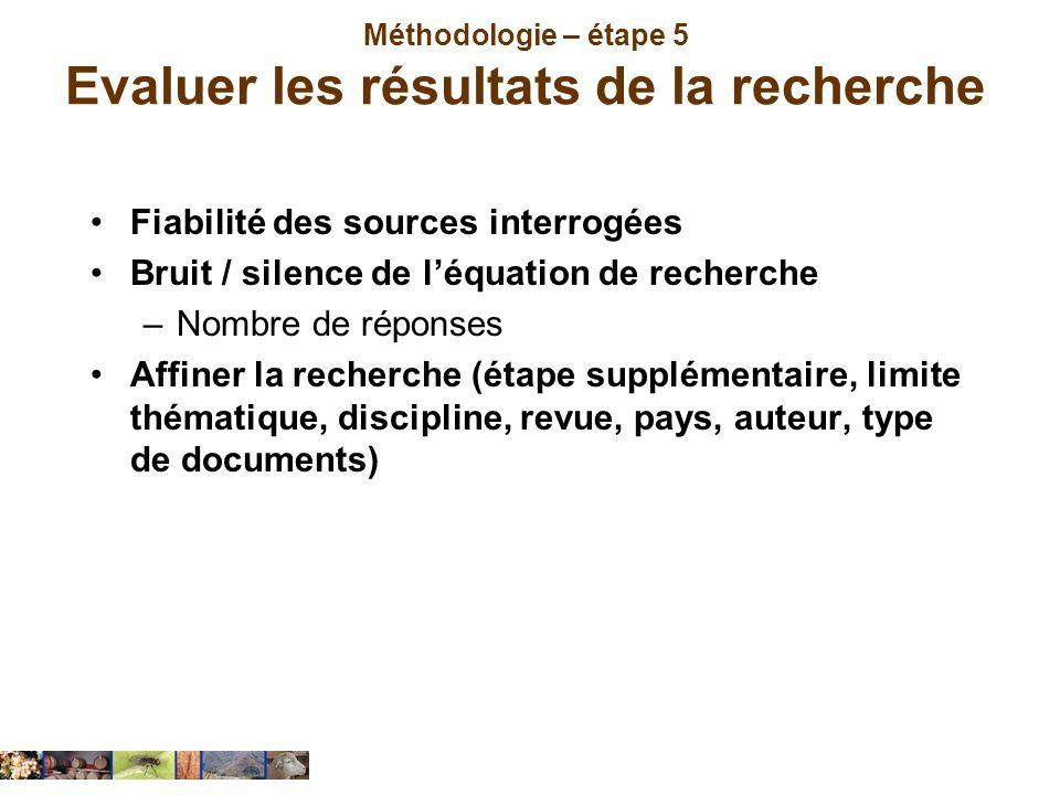 Méthodologie – étape 5 Evaluer les résultats de la recherche Fiabilité des sources interrogées Bruit / silence de léquation de recherche –Nombre de ré