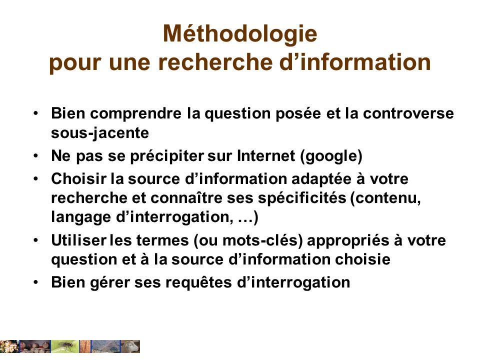 Méthodologie pour une recherche dinformation Bien comprendre la question posée et la controverse sous-jacente Ne pas se précipiter sur Internet (googl