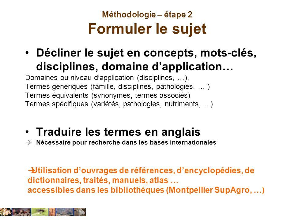 Méthodologie – étape 2 Formuler le sujet Décliner le sujet en concepts, mots-clés, disciplines, domaine dapplication… Domaines ou niveau dapplication