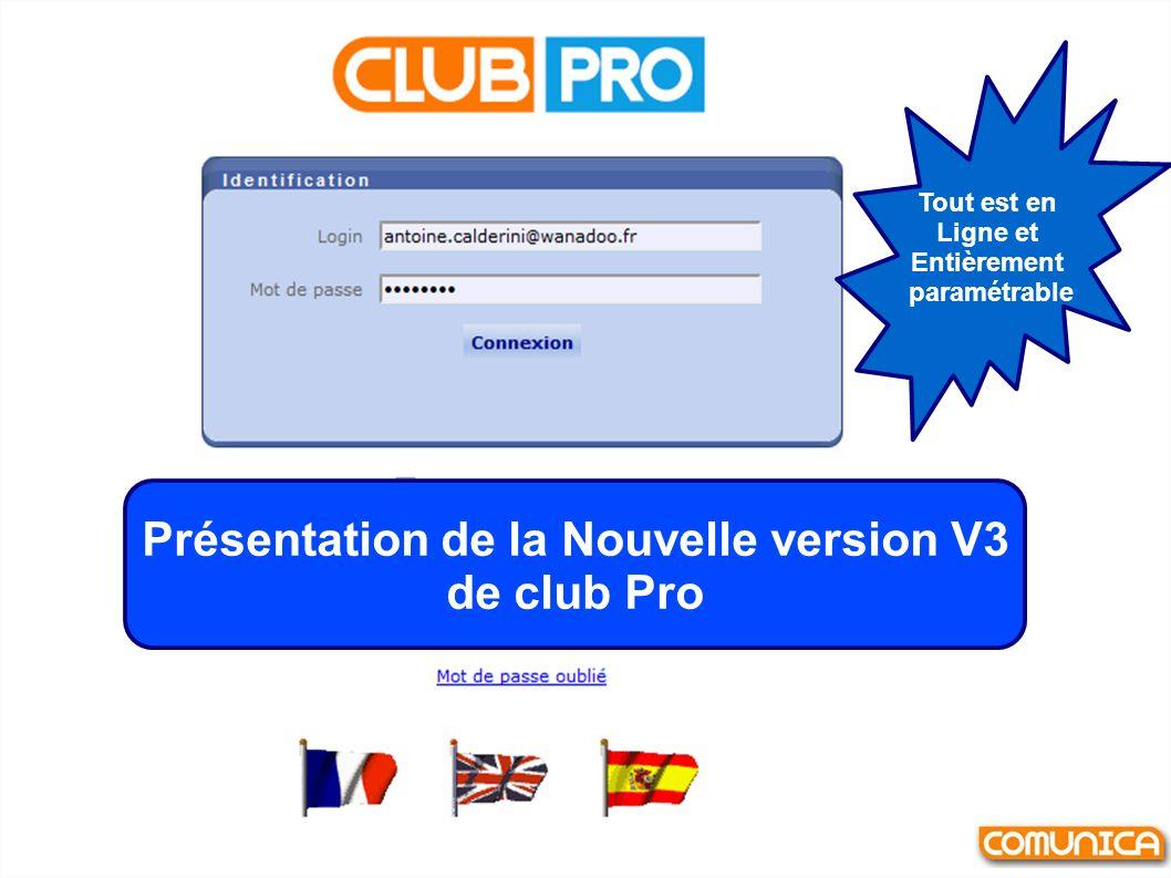 Présentation de la Nouvelle version V3 de club Pro Tout est en Ligne et Entièrement paramétrable