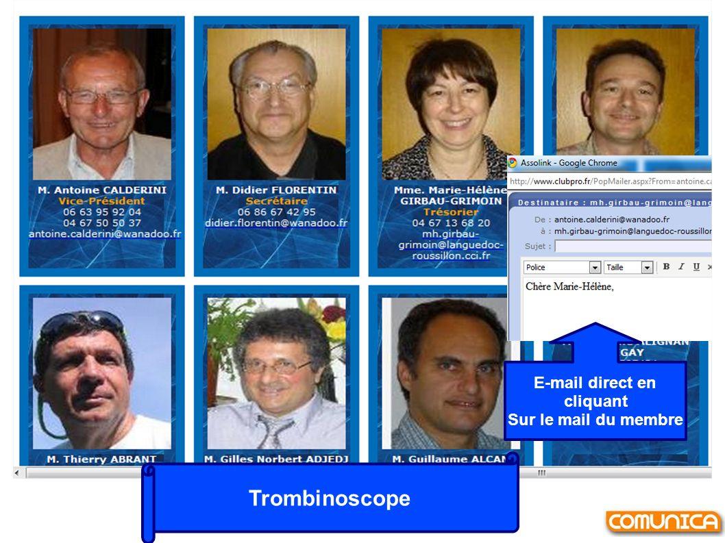 Trombinoscope E-mail direct en cliquant Sur le mail du membre