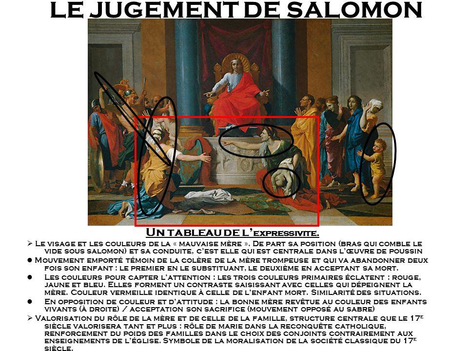 LE JUGEMENT DE SALOMON Un tableau de l expressivite. Le visage et les couleurs de la « mauvaise mère ». De part sa position (bras qui comble le vide s