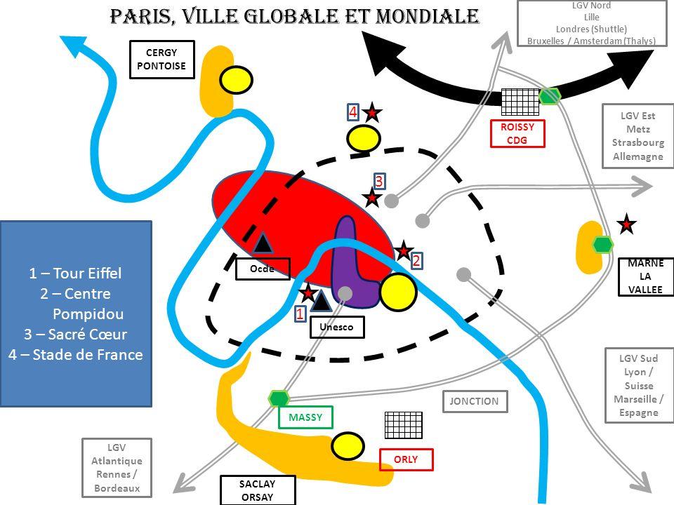 PARIS, VILLE GLOBALE ET MONDIALE Ocde ROISSY CDG JONCTION LGV Atlantique Rennes / Bordeaux LGV Sud Lyon / Suisse Marseille / Espagne LGV Est Metz Stra