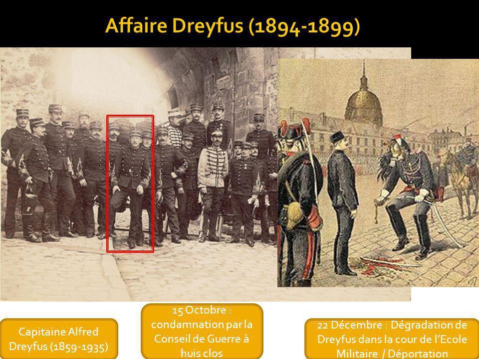 22 Décembre : Dégradation de Dreyfus dans la cour de lEcole Militaire / Déportation Capitaine Alfred Dreyfus (1859-1935) 15 Octobre : condamnation par