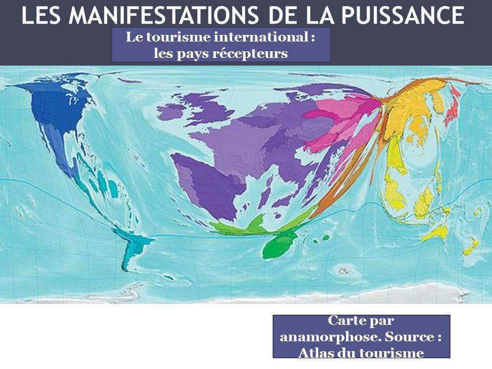 Carte par anamorphose. Source : Atlas du tourisme Le tourisme international : les pays récepteurs