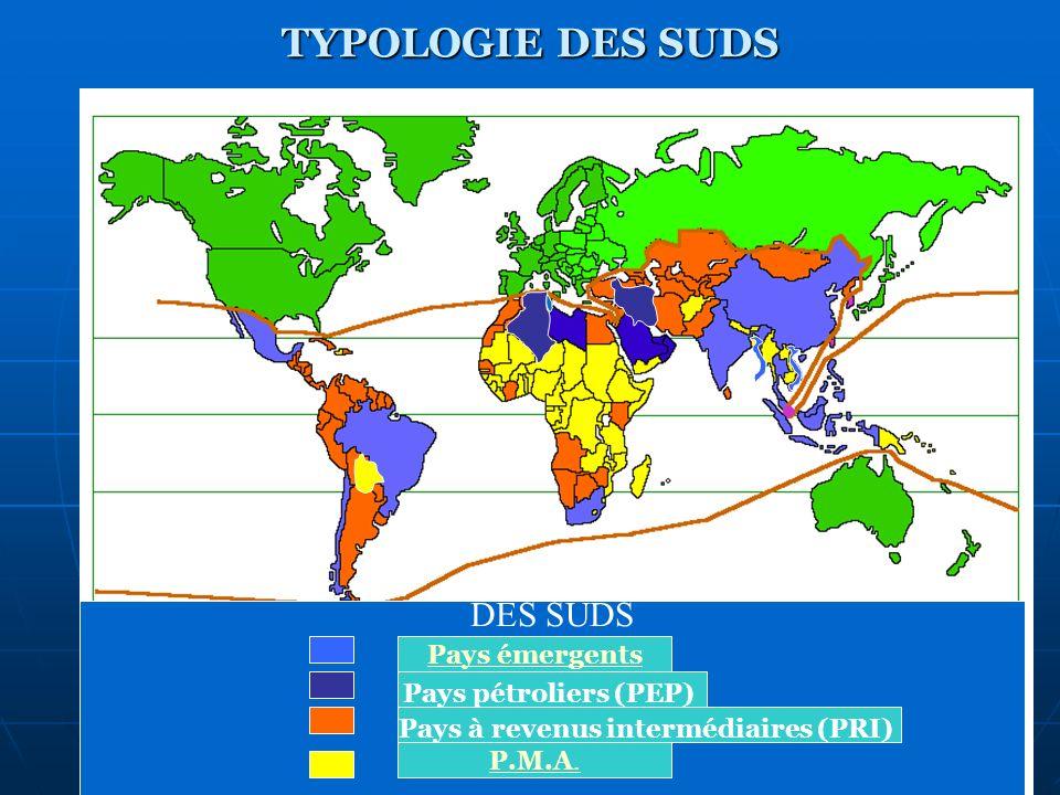 TYPOLOGIE DES SUDS DES SUDS Pays émergents Pays pétroliers (PEP) Pays à revenus intermédiaires (PRI) P.M.A.
