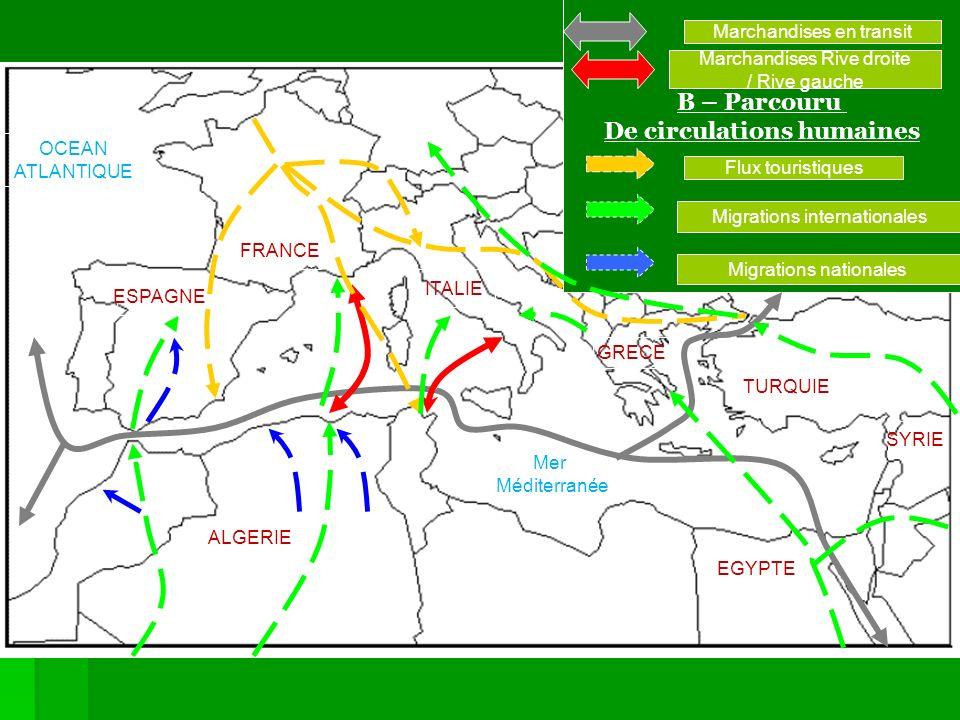 Mer Méditerranée I – UNE INTERFACE NORDS / SUDS A – Un espace de flux de marchandises… B – Parcouru De circulations humaines Marchandises en transit M