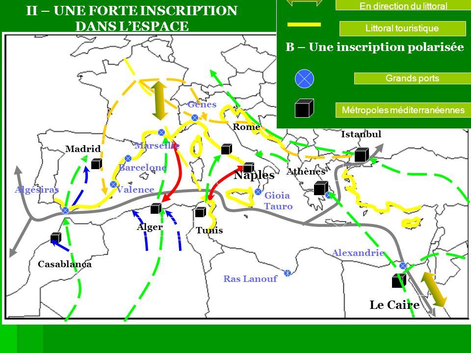 A – Une inscription linéaire Axes de communication En direction du littoral Littoral touristique Grands ports Métropoles méditerranéennes Tunis Ras La