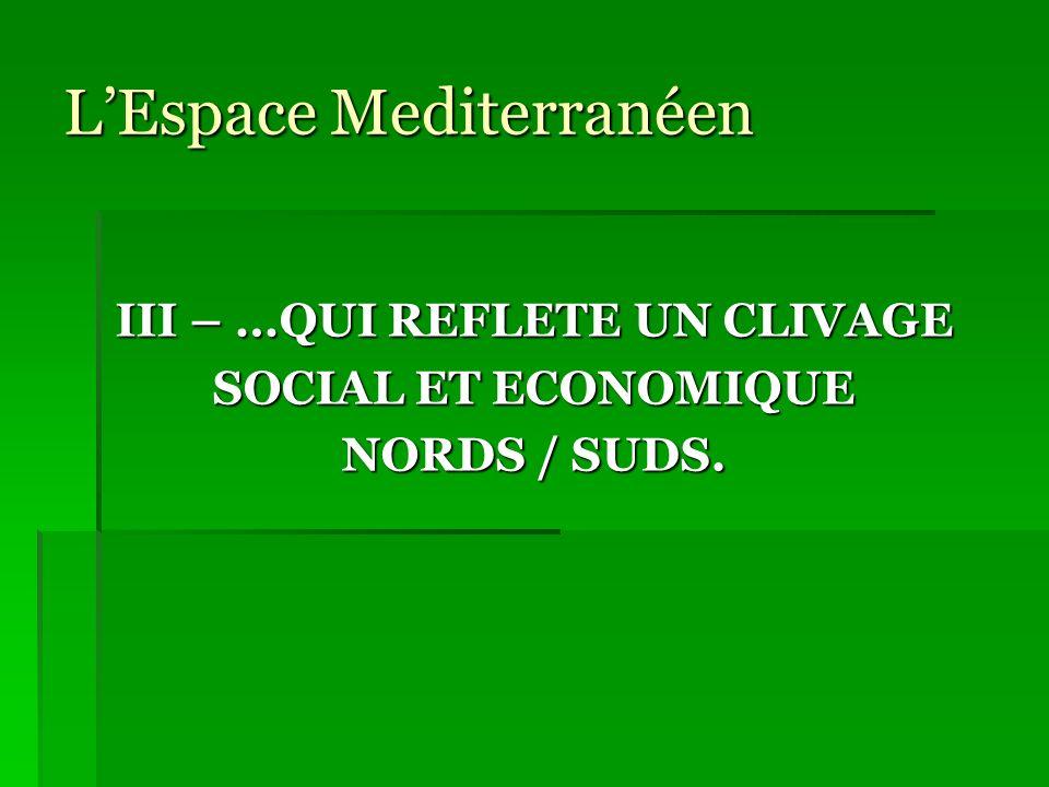 LEspace Mediterranéen III – …QUI REFLETE UN CLIVAGE SOCIAL ET ECONOMIQUE NORDS / SUDS.