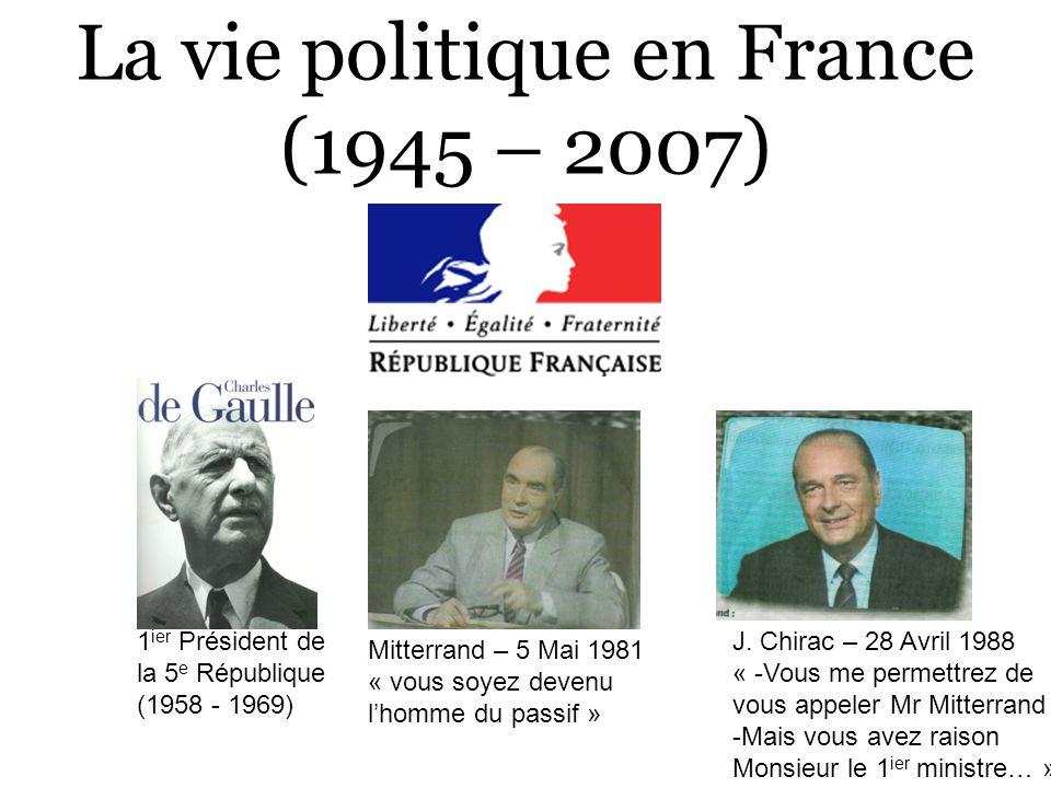 La vie politique en France (1945 – 2007) Mitterrand – 5 Mai 1981 « vous soyez devenu lhomme du passif » J. Chirac – 28 Avril 1988 « -Vous me permettre