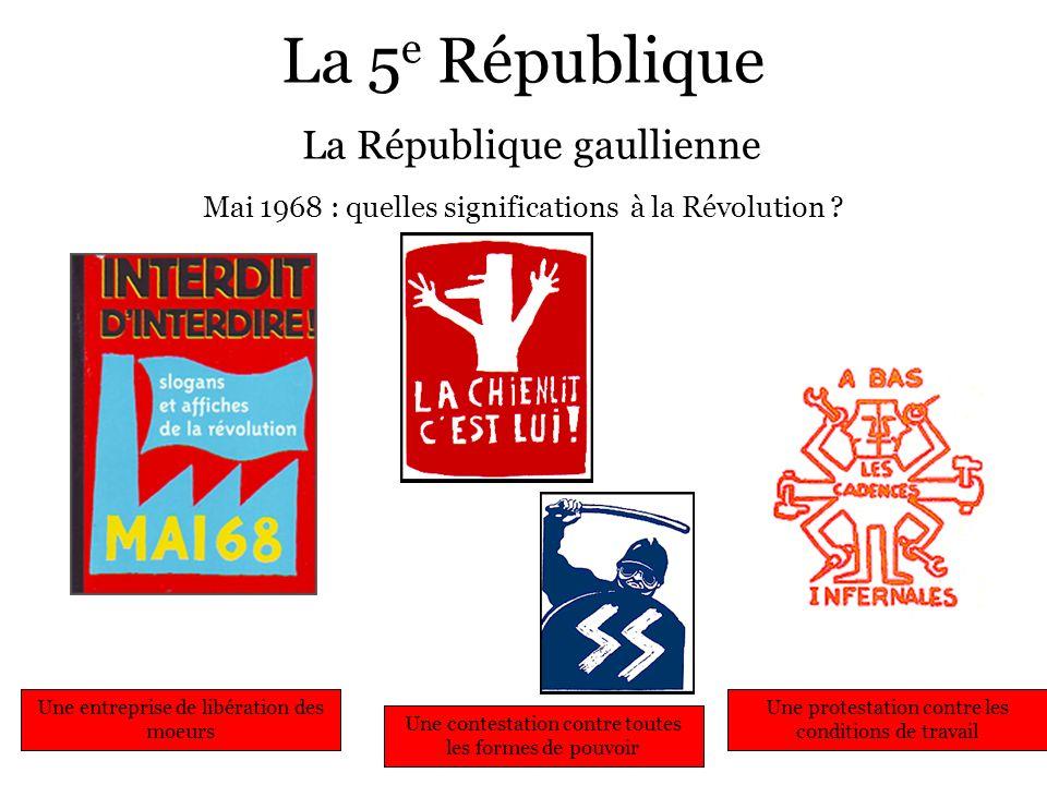 La 5 e République La République gaullienne Mai 1968 : quelles significations à la Révolution ? Une entreprise de libération des moeurs Une contestatio