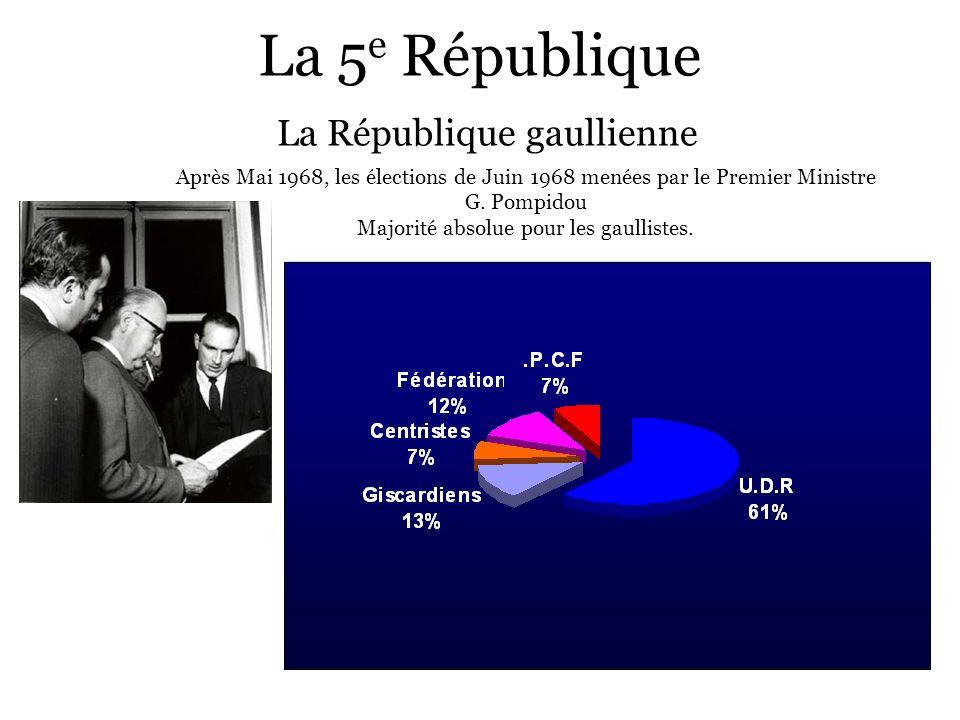 La 5 e République La République gaullienne Après Mai 1968, les élections de Juin 1968 menées par le Premier Ministre G. Pompidou Majorité absolue pour