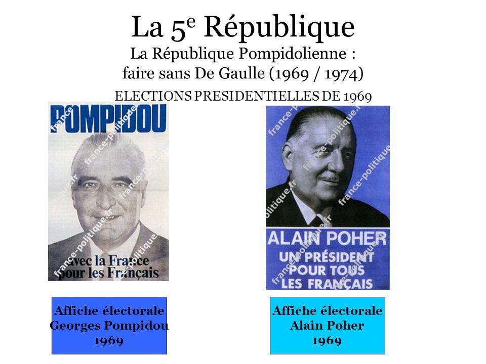 La 5 e République La République Pompidolienne : faire sans De Gaulle (1969 / 1974) ELECTIONS PRESIDENTIELLES DE 1969 Affiche électorale Alain Poher 19