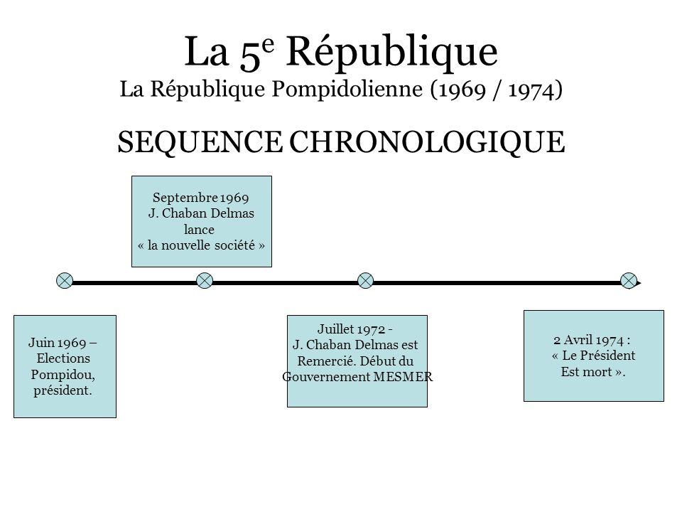 La 5 e République La République Pompidolienne (1969 / 1974) SEQUENCE CHRONOLOGIQUE Juin 1969 – Elections Pompidou, président. Septembre 1969 J. Chaban