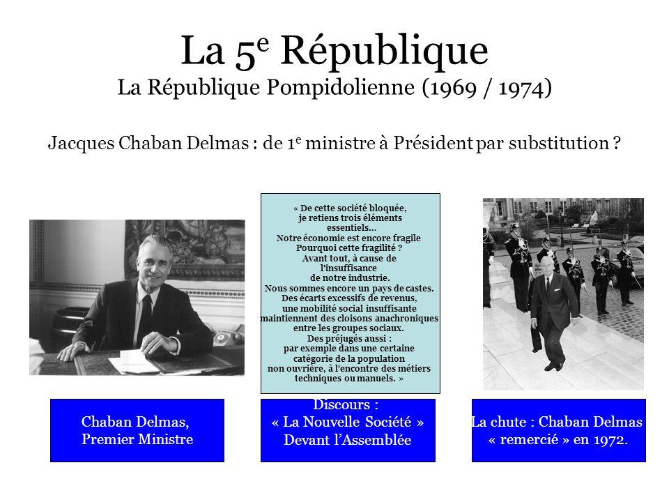 La 5 e République La République Pompidolienne (1969 / 1974) Jacques Chaban Delmas : de 1 e ministre à Président par substitution ? Chaban Delmas, Prem