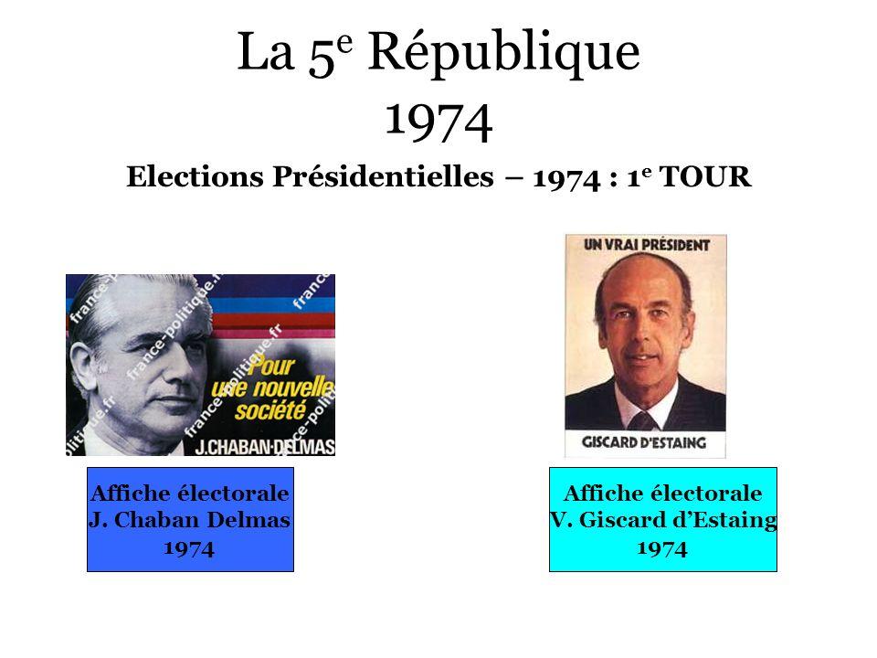 La 5 e République 1974 Elections Présidentielles – 1974 : 1 e TOUR Affiche électorale J. Chaban Delmas 1974 Affiche électorale V. Giscard dEstaing 197