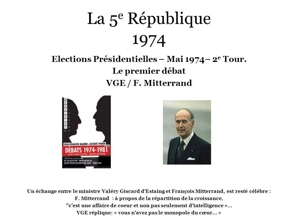 La 5 e République 1974 Elections Présidentielles – Mai 1974– 2 e Tour. Le premier débat VGE / F. Mitterrand Un échange entre le ministre Valéry Giscar