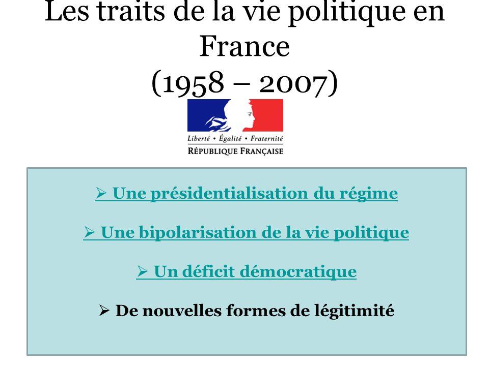 Les traits de la vie politique en France (1958 – 2007) Une présidentialisation du régime Une bipolarisation de la vie politique Un déficit démocratiqu