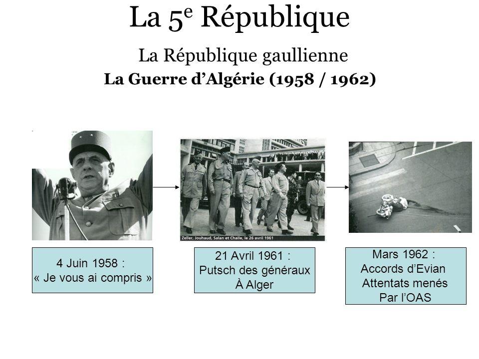La 5 e République La République gaullienne La Guerre dAlgérie (1958 / 1962) 4 Juin 1958 : « Je vous ai compris » 21 Avril 1961 : Putsch des généraux À
