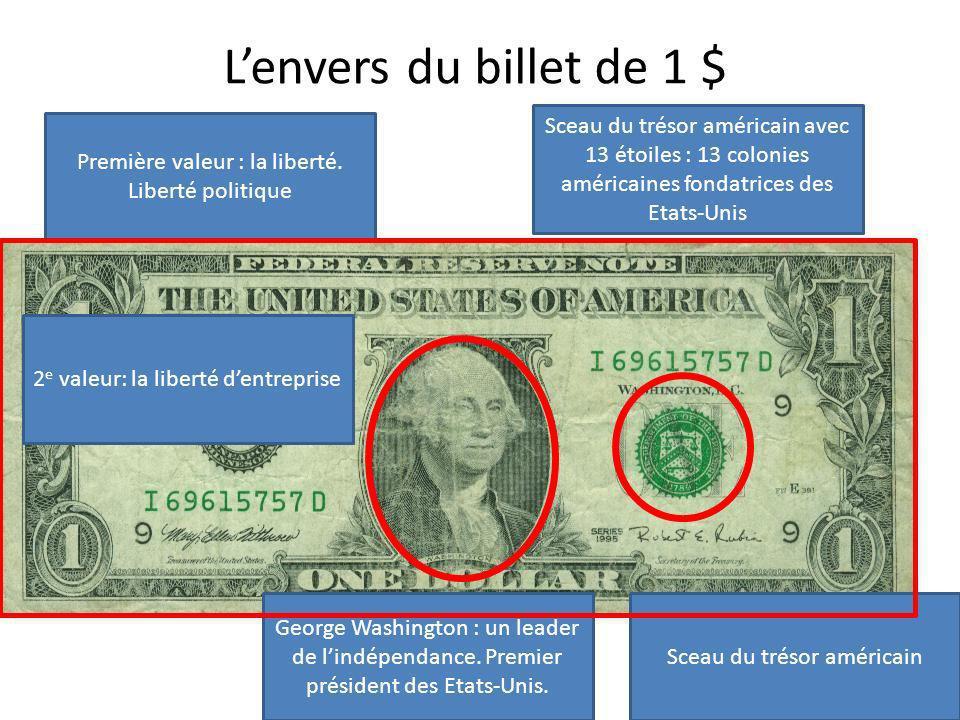 Lenvers du billet de 1 $ Sceau du trésor américain avec 13 étoiles : 13 colonies américaines fondatrices des Etats-Unis George Washington : un leader