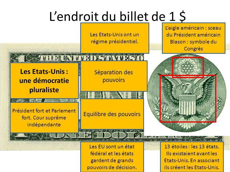 Lendroit du billet de 1 $ Laigle américain : sceau du Président américain Blason : symbole du Congrès 13 étoiles : les 13 états. Ils existaient avant