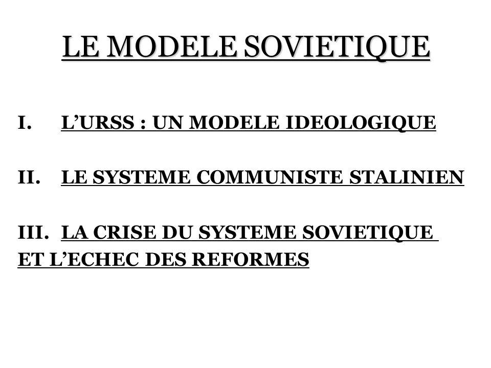LE MODELE SOVIETIQUE I.LURSS : UN MODELE IDEOLOGIQUE II.LE SYSTEME COMMUNISTE STALINIEN III.LA CRISE DU SYSTEME SOVIETIQUE ET LECHEC DES REFORMES