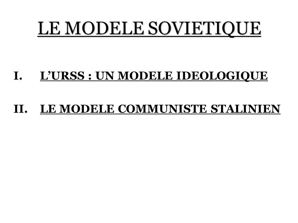 LE MODELE SOVIETIQUE I.LURSS : UN MODELE IDEOLOGIQUE II.LE MODELE COMMUNISTE STALINIEN