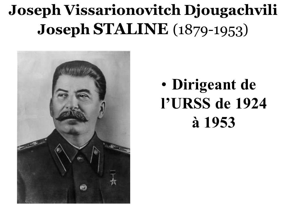 Joseph Vissarionovitch Djougachvili Joseph STALINE (1879-1953) Dirigeant de lURSS de 1924 à 1953