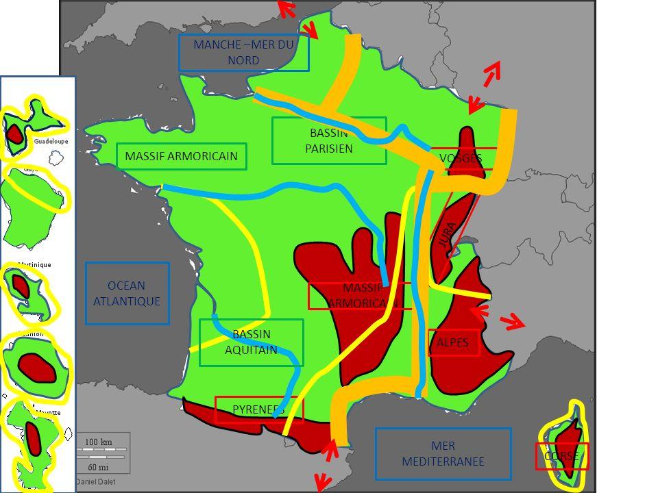 Atouts et contraintes du territoire français II – CONTRAINTES DU TERRITOIRE FRANCAIS A – RISQUES NATURELS B – RISQUES DENCLAVEMENT Aléas volcaniques Espaces à fort enclavement (isolement) : distance des centres / reliefs.