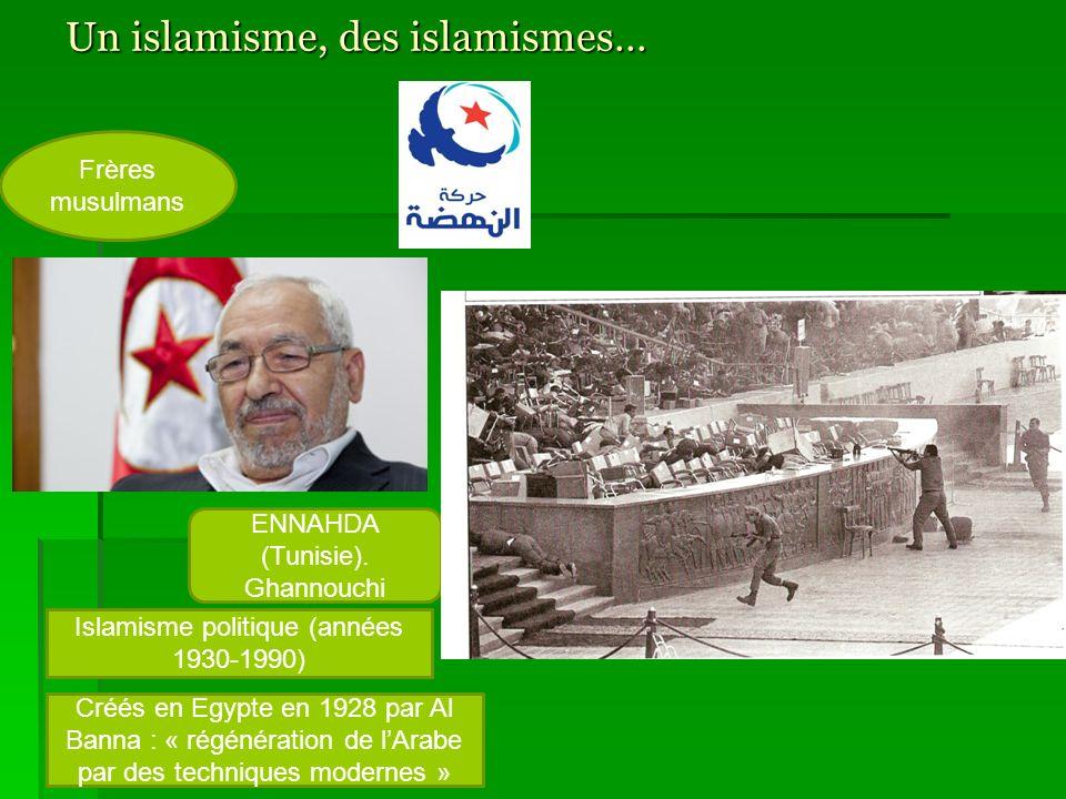 Un islamisme, des islamismes… Islamisme politique (années 1930-1990) Islamisme religieux (années 1980-21 e siècle) Frères musulmans Salafistes Al Albani : « la meilleure politique cest labandon de la politique » Crée en Egypte en 1928 par Al Banna : « régénération de lArabe par des techniques modernes » ENNAHDA (Tunisie).